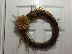 """14"""" Grapevine Wreath with floral accents and Burlap flower by TheWhiteBow on Etsy https://www.etsy.com/listing/242578121/14-grapevine-wreath-with-floral-accents"""