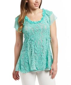 Another great find on #zulily! Aqua Lace Linen-Blend Cap-Sleeve Tunic #zulilyfinds