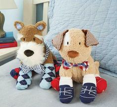 Puppy Bow Tie Sock Buddies perfect gift for a new little one.  He can wear the socks and bow tie and snuggle with his puppy! :-)