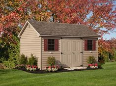 The perfect backyard accent, the Cape shed lends an air of charm to your landscape while adding valuable storage convenience to your life. Vinyl Storage Sheds, Vinyl Sheds, Shed Storage, Built In Storage, Wood Door Paint, Painted Doors, Wood Doors, Shed Landscaping, Greenwood Lake