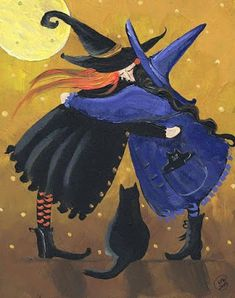Choose your favorite halloween paintings from millions of available designs. All halloween paintings ship within 48 hours and include a money-back guarantee. Halloween Painting, Halloween Cat, Holidays Halloween, Vintage Halloween, Halloween Decorations, Happy Halloween, Witch Painting, Halloween Buckets, Halloween Canvas