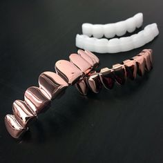 New 14k Rose Gold Plated Hip Hop Teeth Grillz Caps 8Teeth Top & Bottom Grill Set