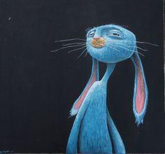 blue rabbit on black. by-Brett Superstar