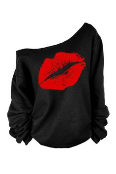 Black Asymmetric Shoulder Long Sleeves Top With Red Lipprint -YOINS