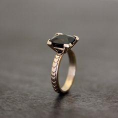 Art+Deco+Inspired+Black+Spinel+Cushion+Gemstone+by+onegarnetgirl,+$468.00