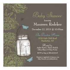 Mason Jar Jelly Jar Rustic Baby Shower Custom Announcements