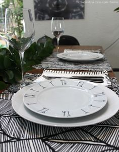 table setting with leaves