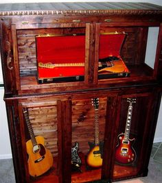 so need this for the boys guitars! Guitar Display Case, Guitar Storage, Guitar Rack, Guitar Stand, Box Guitar, Guitar Chords, Music Studio Room, Music Rooms, Music Furniture