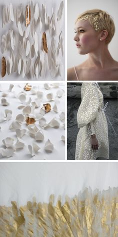 part 2 of a gold & bone moodboard. individual images are pinned and credited.