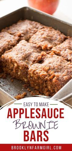 Easy to make Apple Brownie Bars that uses 1 cup of applesauce and have a yummy cinnamon sugar spice crumble on top.  These treats are perfect to make in the Fall when you go apple picking with your family!