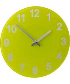 ColourMatch Apple Green Round Glass Wall Clock.