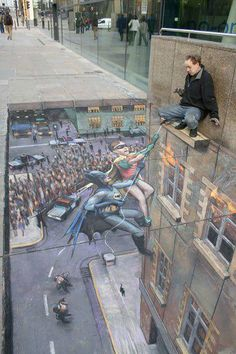 optical illusion - amazing street art  I would be freaked if I was standing there I don't care if there really is ground there