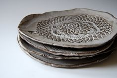 handmade ceramic plates for dessert (set of 4)