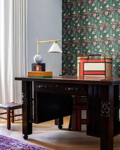 - Visual Comfort Cleo Desk Lamp in Bronze & Antique Burnished Brass William Morris Wallpaper, Morris Wallpapers, Art Deco Bed, Art Deco Lamps, Wallpaper Layers, Leopard Print Wallpaper, Visual Comfort Lighting, Modern Condo, Desk Lamp