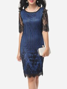 #AdoreWe #FashionMia Bodycon Dresses - FashionMia Round Neck Lace Patchwork Bodycon Dress - AdoreWe.com