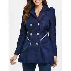 Dropshipping Women's Clothing, wir versenden für Sie | Chinabrands.com Fit And Flare Coat, Raincoat Outfit, Black Raincoat, Hoodie Outfit, Military Style Coats, Coats For Women, Clothes For Women, Double Breasted Coat, Outerwear Women