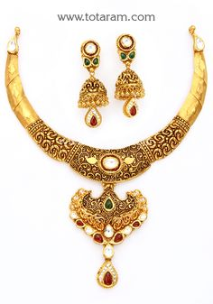 22K Gold Antique Necklace & Drop Earrings Set with Stones - GS2839 - Indian Jewelry Designs from Totaram Jewelers