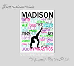 Gymnastics Typography Art Print, Perfect for Girl's Room Art, You Choose the Colors, Makes a Great Gift for any Gymnast