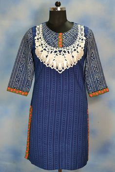 Baronial Blue Indigo Kurti with Lace Front and Mirror Work Placket.