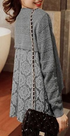 70 Ideas Fashion Diy Top Fabrics For 2019 Sewing Clothes Women, Diy Clothes, Clothes For Women, Sweater Layering, Grey Sweater, Lace Knitting, Crochet Lace, Crochet Shrugs, Knitting Ideas