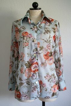 George Gerring Miami, FLA Vintage Mod Floral Button Up Blouse Shirt, $25.00
