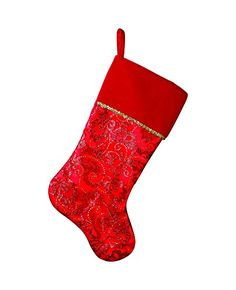 Sterling 205 Glitter Print On Tulle Stocking With Velvet Cuff  Metallic Trim >>> Click on the image for additional details.