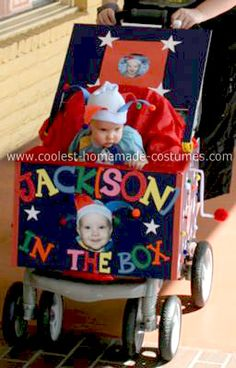 Homemade Jack in the Box Stroller Costume: I knew, before my son was born, that I wanted to make him a Jack in the Box for his first Halloween, since we were naming him Jackson.  He is only 9 months