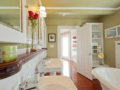 Small Bathroom Storage Solutions: Install a ledge-style shelf over the sink >> http://www.diynetwork.com/bathroom/small-bathroom-storage-solutions/pictures/page-2.html?soc=pinterest