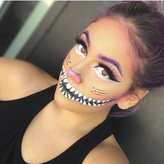 Halloween Makeup : beautyybox: Kitty came out to play! Details on IG Looks Halloween, Halloween Inspo, Halloween Cat, Halloween Costumes, Halloween 2015, Cheshire Cat Makeup, Chesire Cat, Kitty Cat Makeup, Cheshire Cat Face Paint