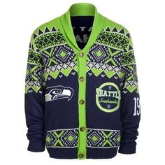 119db6c15ef Seattle Seahawks Ugly Cardigan Sweater Ugly Cardigan Sweater. Officially  Licensed.