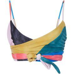 Mara Hoffman Mila Wrap Bikini Top ($160) ❤ liked on Polyvore featuring swimwear, bikinis, bikini tops, tops, shirts, swimsuit, multi, wrap bikini, swimsuits two piece and wrap around bikini top