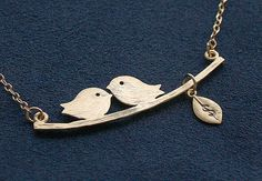 Mother's Day Gift  Gold Lovebirds Necklace  Bird by FiveThirty, $27.00
