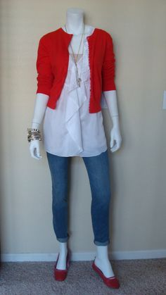 Daily Look:@CAbi Clothing #Spring13 #Fashion Ruby Jean & Poppy Cardigan w our vintage Ruffle Tunic. Happy V-Day!