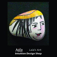 Sea pebble ring designed and painted by Laia for Intuition Design Shop, Athens