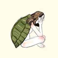 La chica tortuga se sentía sola a veces. Era todo a causa de su forma de ser. Una parte de ella lo sabía.—-Turtle girl felt lonely sometimes. It was all because of her way of being. A part of her knew it.—