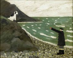 Gary Bunt. Old man giving orders to his dog along the seacoast.