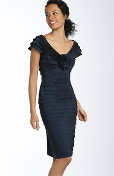 Free shipping and returns on Tadashi Shoji Rosette Shutter Pleat Sheath Dress at Nordstrom.com. Lovely rosette centers the fan-like pleats that fashion a lustrous, curve-hugging dress, topped by a wide V-neckline and cap sleeves.