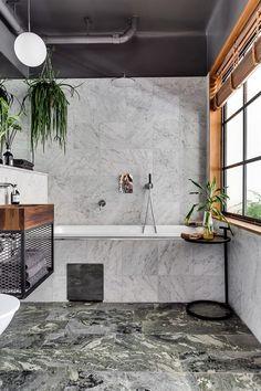 Industriellt badrum med marmor   Badrumsdrömmar