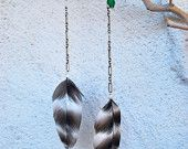 Striped Rock Quill Feather Earrings With Chains and Vintage Beads - Style 086