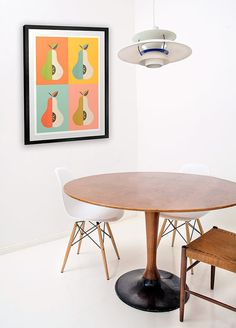 Kitchen print scandinavian print mid century modern art pear pattern, nordic design by handz