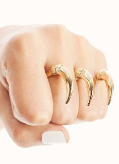 accessories, jewelry, gold jewelry, gold, rings, birds, animals, talons, Go Jane
