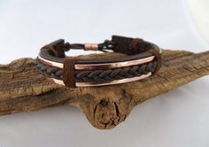 Braided Leather and Copper Bracelet Men's Leather and