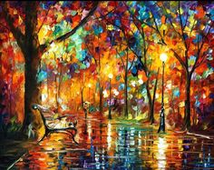 Abstract Canvas Art - Colorful Night — Landscape Wall Art Oil Painting On Canvas By Leonid Afremov. Size: X Inches cm x 75 cm) Abstract Canvas Art, Oil Painting Abstract, Canvas Wall Art, Painting Prints, Art Prints, Painting Canvas, Painting Clouds, Purple Painting, Painting Trees