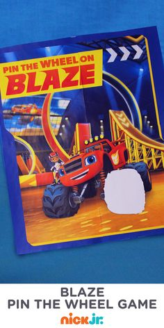 Super fun Blaze and the Monster Machines party game: Pin the Wheel on Blaze!