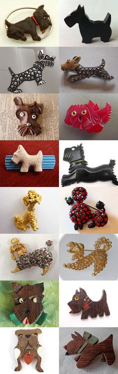 WOOF! Vintage Dog Brooches from Etsy Shops... by Wendy Sacks on Etsy--Pinned with TreasuryPin.com