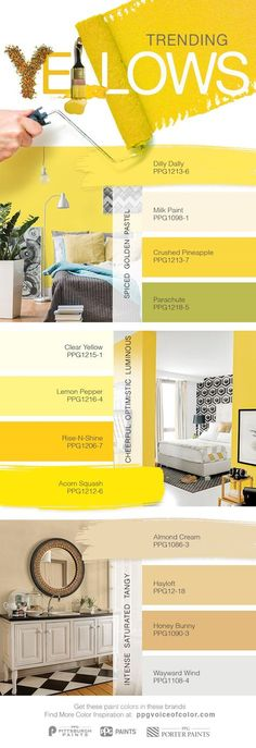 Trending Yellow Paint Colors for 2017 | Yellow is a happy, warm color that can enliven a room or provide a burst of energy. For 2017 trending yellows include spicy golden yellows, tangy bright yellows, and luminous pastel yellows. Get these paint colors tinted in PPG PAINTS™, PPG PITTSBURGH PAINTS®, & or PPG PORTER PAINTS® products.