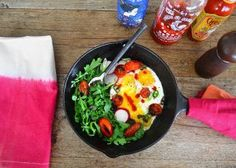 Eggs in a skillet from the stovetop to the table top. Use what you have in the fridge for a fast + easy brunch, only thing you need for sure is eggs!