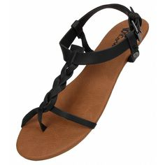 Volcom Womens Hot Summer Day Sandal ($20) ❤ liked on Polyvore featuring shoes, sandals, black, braided strap sandals, black strap sandals, black strappy shoes, buckle sandals and black strappy sandals