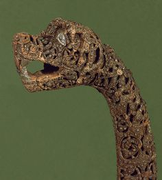 Oseberg animal head post, found within a Viking ship burial