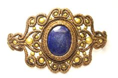 Pulsera en Macrame con Lapislázuli y Bronce, Dorado, Azul, Joyeria Macrame, Piedra Semipreciosa, Macrame Bracelet, Macrame Jewelry, Unico.